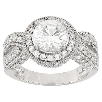 2.83 CT. T.W. Twisted Halo Cubic Zirconia Ring In Sterling Silver