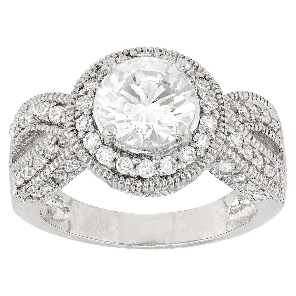 2.83 CT. T.W. Twisted Halo Cubic Zirconia Ring In Sterling Silver - (5), Girl's