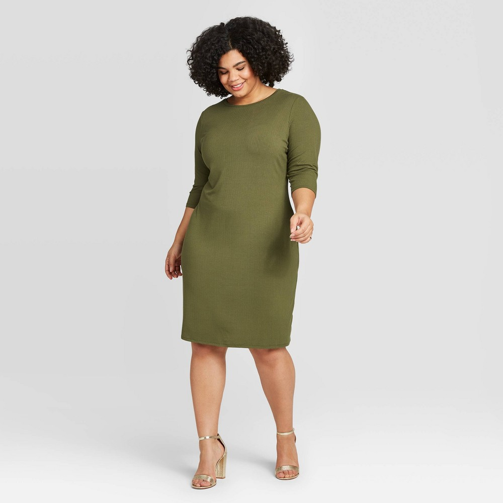 Women's Plus Size 3/4 Sleeve Rib-Knit Dress - A New Day Green 2X was $24.99 now $17.49 (30.0% off)