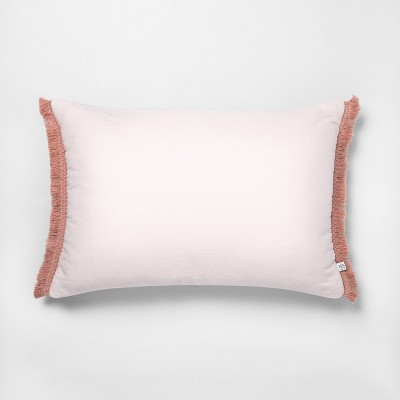 "14"" x 20"" Tonal Macramé Trim Throw Pillow Dusty Pink - Hearth & Hand™ with Magnolia"