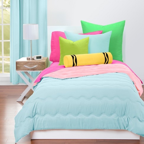 Crayola Sky Blue and Tickle Me Pink Comforter - image 1 of 4