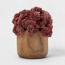 "7.5"" x 6"" Artificial Sedum Arrangement in Wooden Pot Purple/Natural - Threshold™"