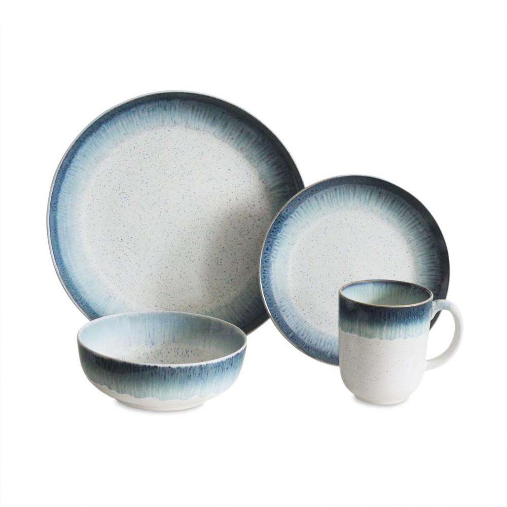 Image of 16pc Stoneware Marina Dinnerware Set Blue/White Baum Bros.