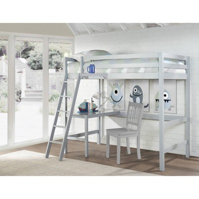 Kids' Twin Caspian Study Loft with Chair and Hanging Nightstand Gray - Hillsdale Furniture