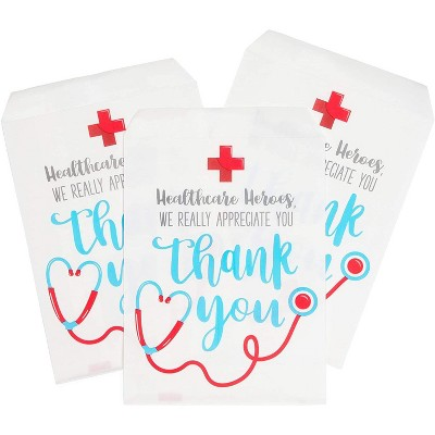 Sparkle and Bash 100-Pack Thank You Goodie Bags Favor Bags, Nurse Appreciation Small Gift Bags (5 x 7.5 in)