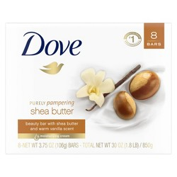 Dove Purely Pampering Shea Butter with Warm Vanilla Beauty Bar Soap - 3.75oz/8ct