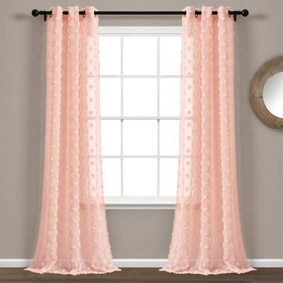 "Set of 2 84""x38"" Textured Dot Grommet Top Sheer Window Curtain Panels Blush - Lush Décor"