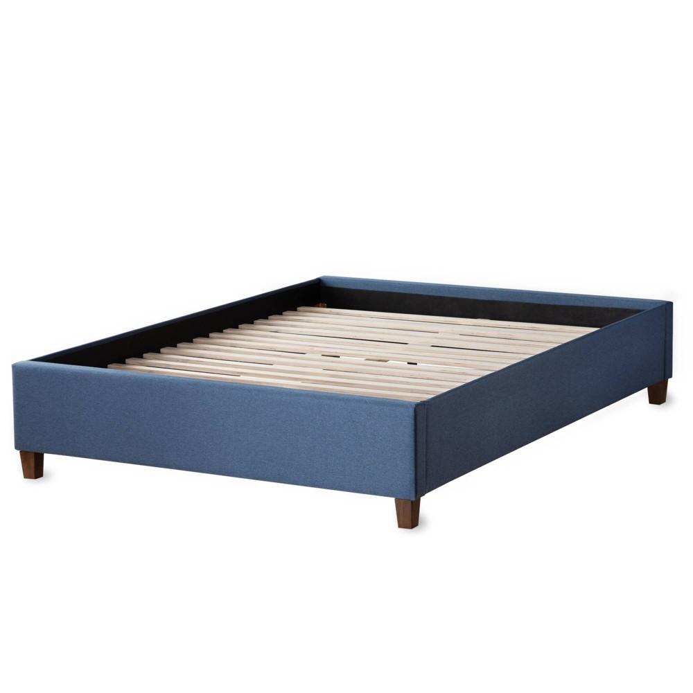 Image of California King Ava Upholstered Platform Bed with Slats Navy - Brookside