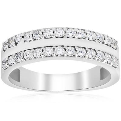 Pompeii3 3/4ct Diamond Double Row Wedding Ring 14K White Gold