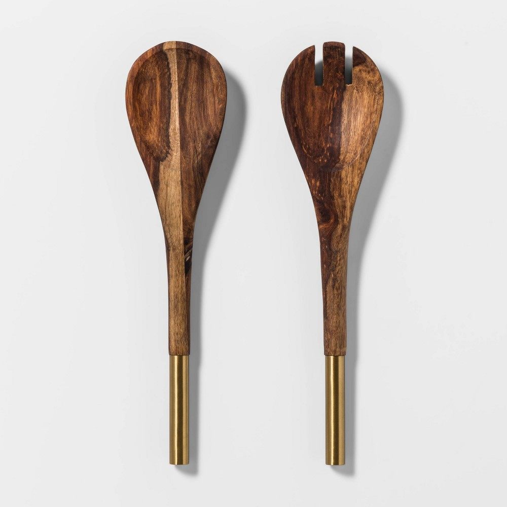 Image of 2pc Indian Rosewood Serving Utensil Set Brown/Gold - Threshold , Gold Brown