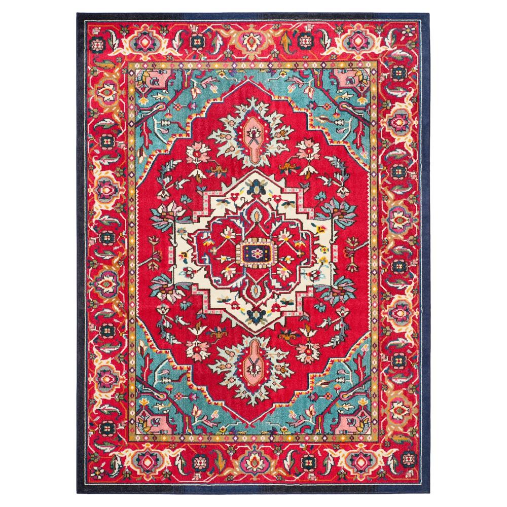 Image of Essie Area Rug - Red/Turquoise (8'x11') - Safavieh