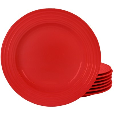 Plaza Cafe Set of 8- 10.5in Dinner Plate Set in Red