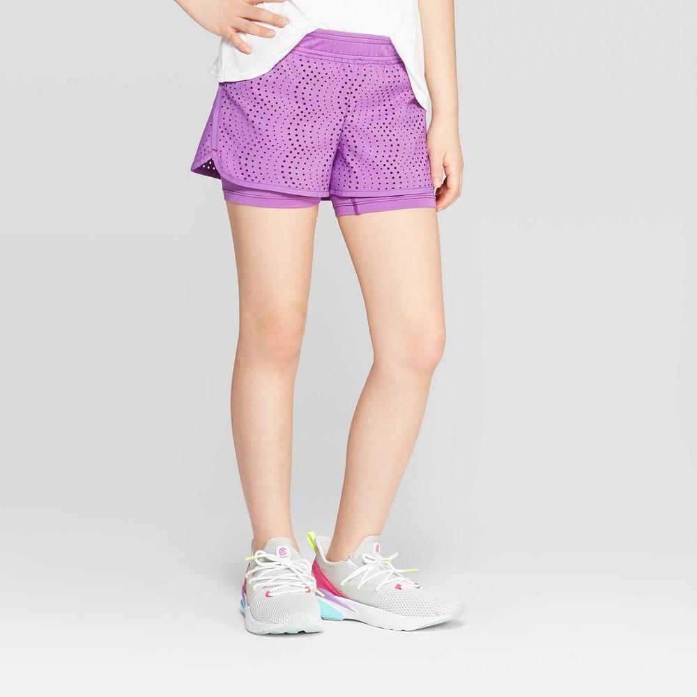 33804693 Girls Layered Run Shorts C9 Champion Mauve Purple L