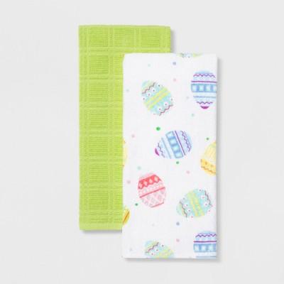 2pk Egg & Plaid Kitchen Towel White/Green - Spritz™
