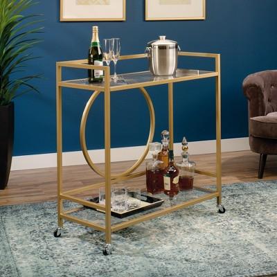 International Luxury Bar Cart Satin Gold/Clear Glass Finish - Sauder
