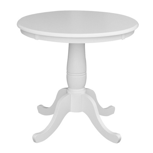 Morgan 30 Round Top Pedestal Extendable Dining Table White International Concepts Target
