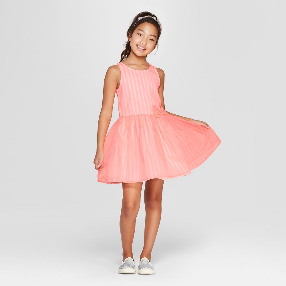 Girls' Stripe Dressy Dress - Cat & Jack Coral XS, Pink