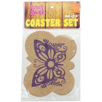 Crowded Coop, LLC Kitsch on the Rocks Retro Cork Coaster Set - Super Fly - Set of 4