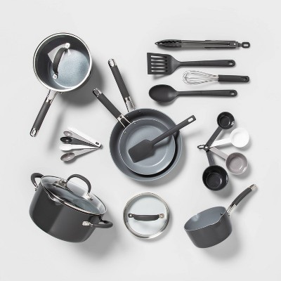 22pc Ceramic Cookware Set Gray - Made By Design™