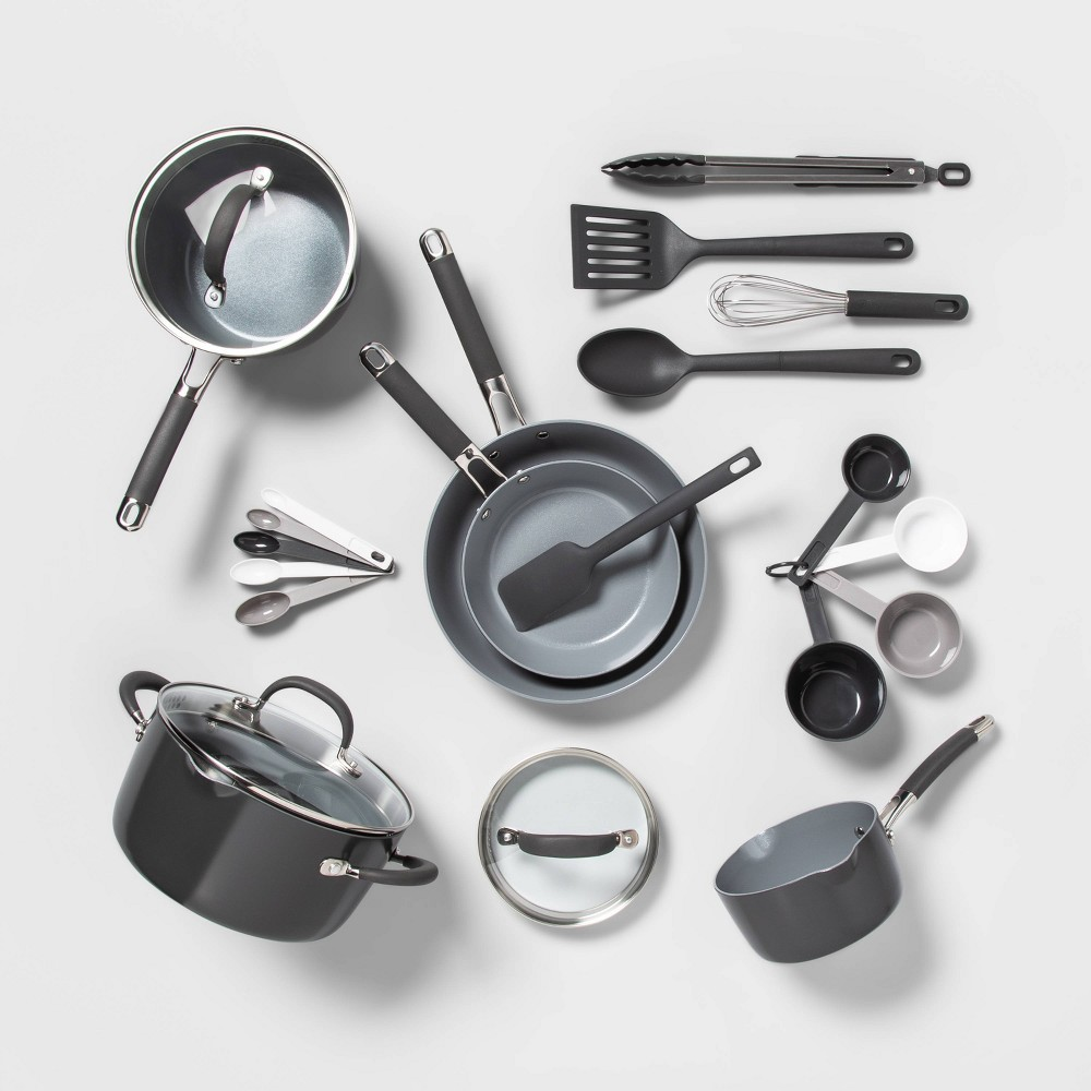 Image of 22pc Ceramic Cookware Set Gray - Made By Design