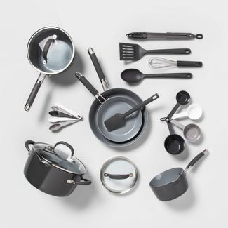 22pc Ceramic Cookware Set Gray - Made By Design™