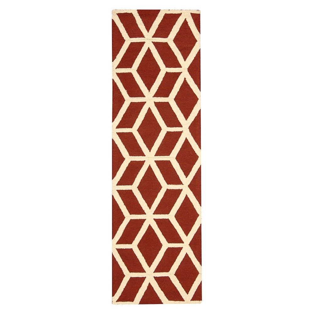 "Image of ""Nourison Kinetic Linear Accent Rug - Red Brick/Ivory (2'3""""X7'6"""" Runner)"""