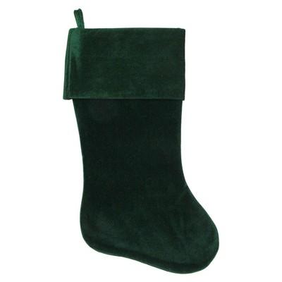 "Northlight 18"" Traditional Solid Green Velvet Hanging Christmas Stocking"
