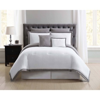 Truly Soft Everyday Full/Queen Hotel Border Comforter Set White/Gray
