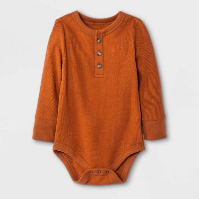 Baby Boys' Henley Thermal Long Sleeve Bodysuit - Cat & Jack™ Orange 0-3M