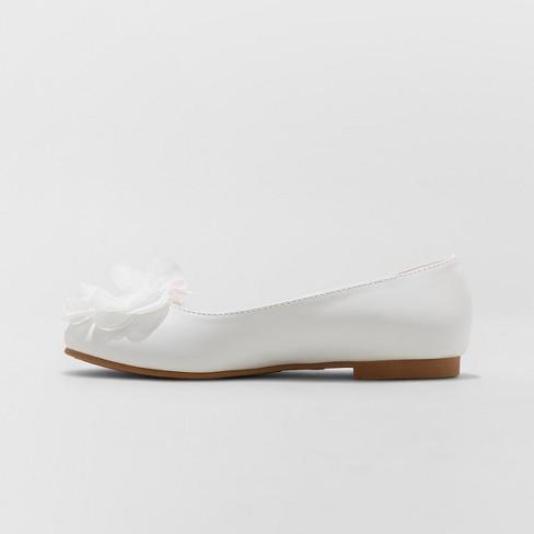 9943c4ba1f9 Girls  Flowers By Nina Muriel Dressy Ballet Flats - White 13   Target