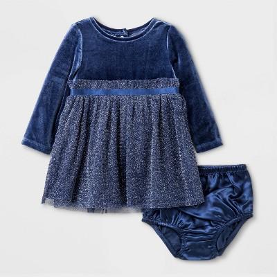 Baby Girls' Velvet Dress - Cat & Jack™ Navy 3-6M