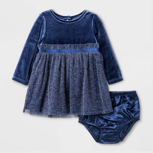 Baby Girls' Velvet Dress - Cat & Jack™ Navy - image 1 of 2