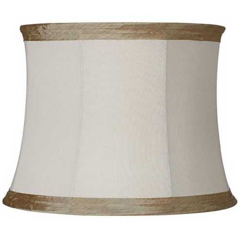Springcrest Ivory Linen With Taupe Trim, 14 Inch Lamp Shade Harp