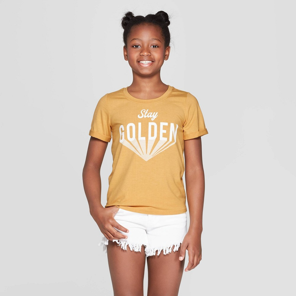 Girls' Rolled Short Sleeve Graphic T-Shirt - art class Gold L
