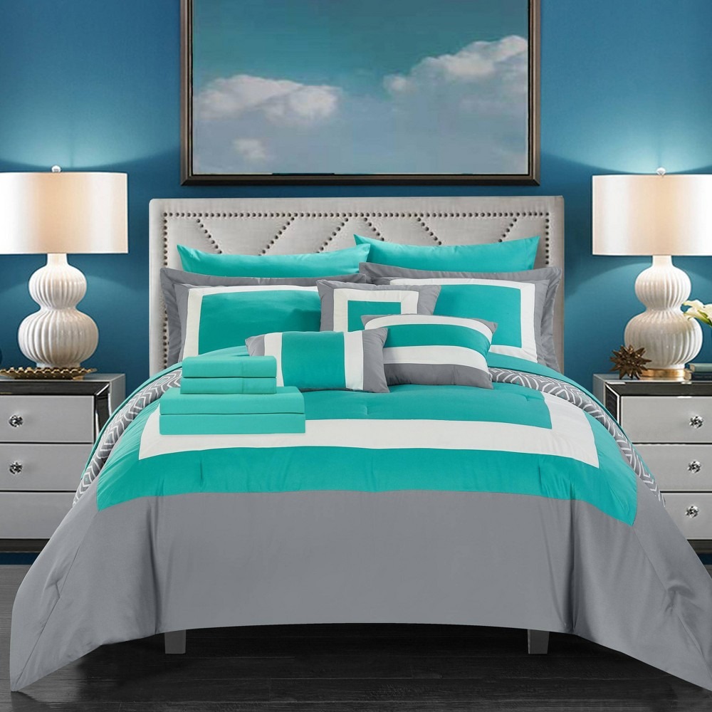 Queen 10pc Heldin Bed In A Bag Comforter Set Turquoise Chic Home Design