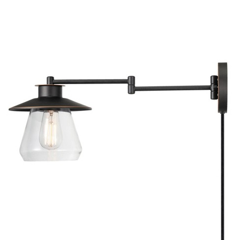 1 Light Nate Plug-in or Hardwire Swing Arm Wall Sconce with Clear Glass Shade Oil Rubbed Bronze - Globe Electric - image 1 of 4