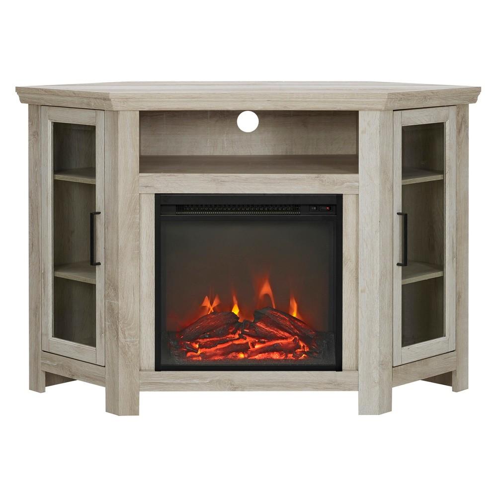 48 Wood Corner Fireplace Media TV Stand Console - White Oak - Saracina Home
