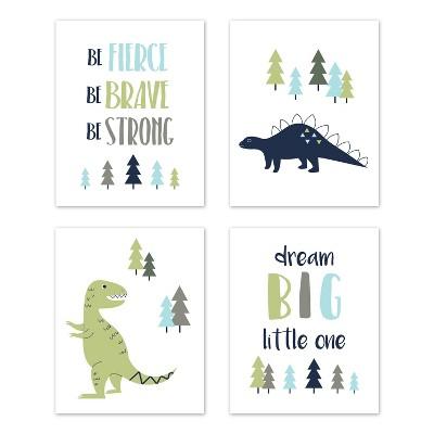4pc Mod Dinosaur Art Prints Set - Sweet Jojo Designs