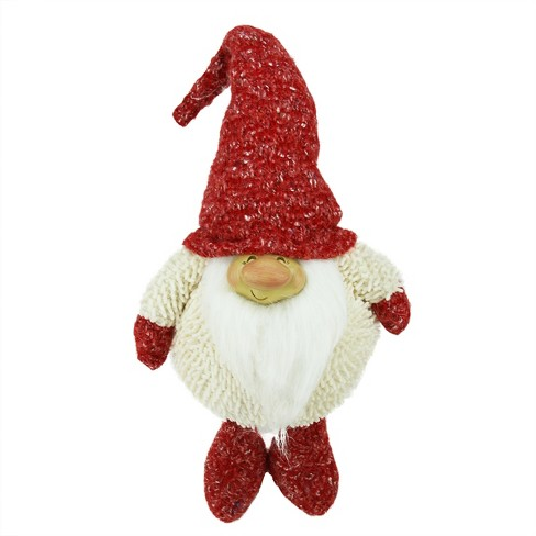 """Northlight 17"""" Textured Ivory and Red Chubby Smiling Gnome Plush Table Top Christmas Figure - image 1 of 1"""