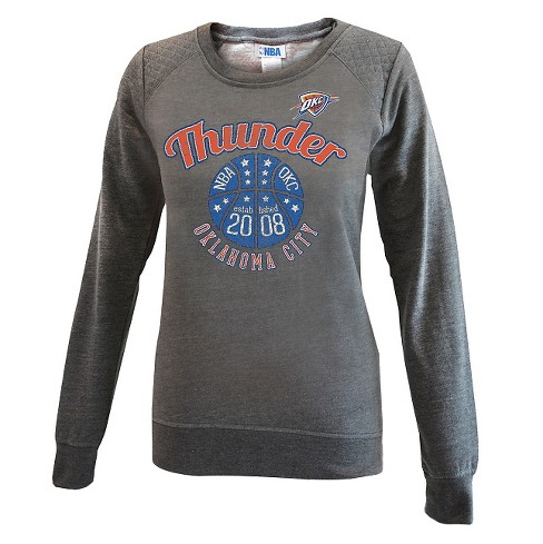 Oklahoma City Thunder Women's Gray Quilted Shoulder Sweatshirt XL - image 1 of 2
