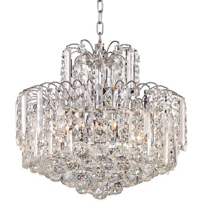 """Vienna Full Spectrum Chrome Chandelier 18"""" Wide Clear Crystal Glass for Dining Room House Foyer Kitchen Island Entryway Bedroom"""