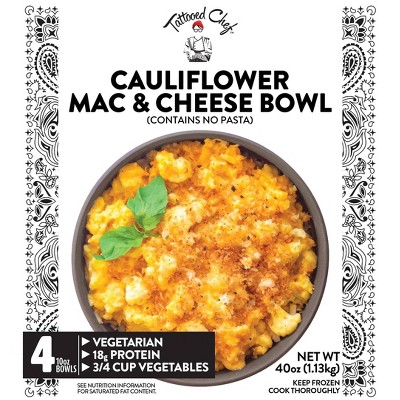 Tattooed Chef Frozen Cauliflower Macaroni & Cheese Bowl - 10oz/4ct