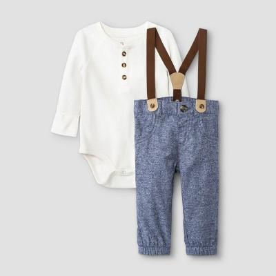 Baby Boys' Thermal Suspender Top & Bottom Set - Cat & Jack™ Cream Newborn