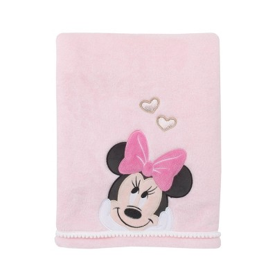 Disney Minnie Mouse Pink Super Soft Coral Fleece Baby Blanket with Applique