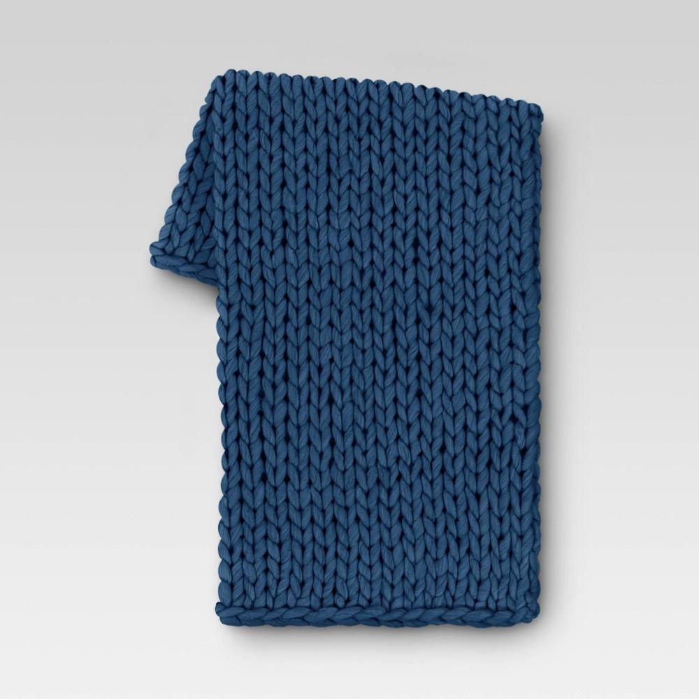 50 34 X60 34 Chunky Knit Throw Blanket Blue Threshold 8482