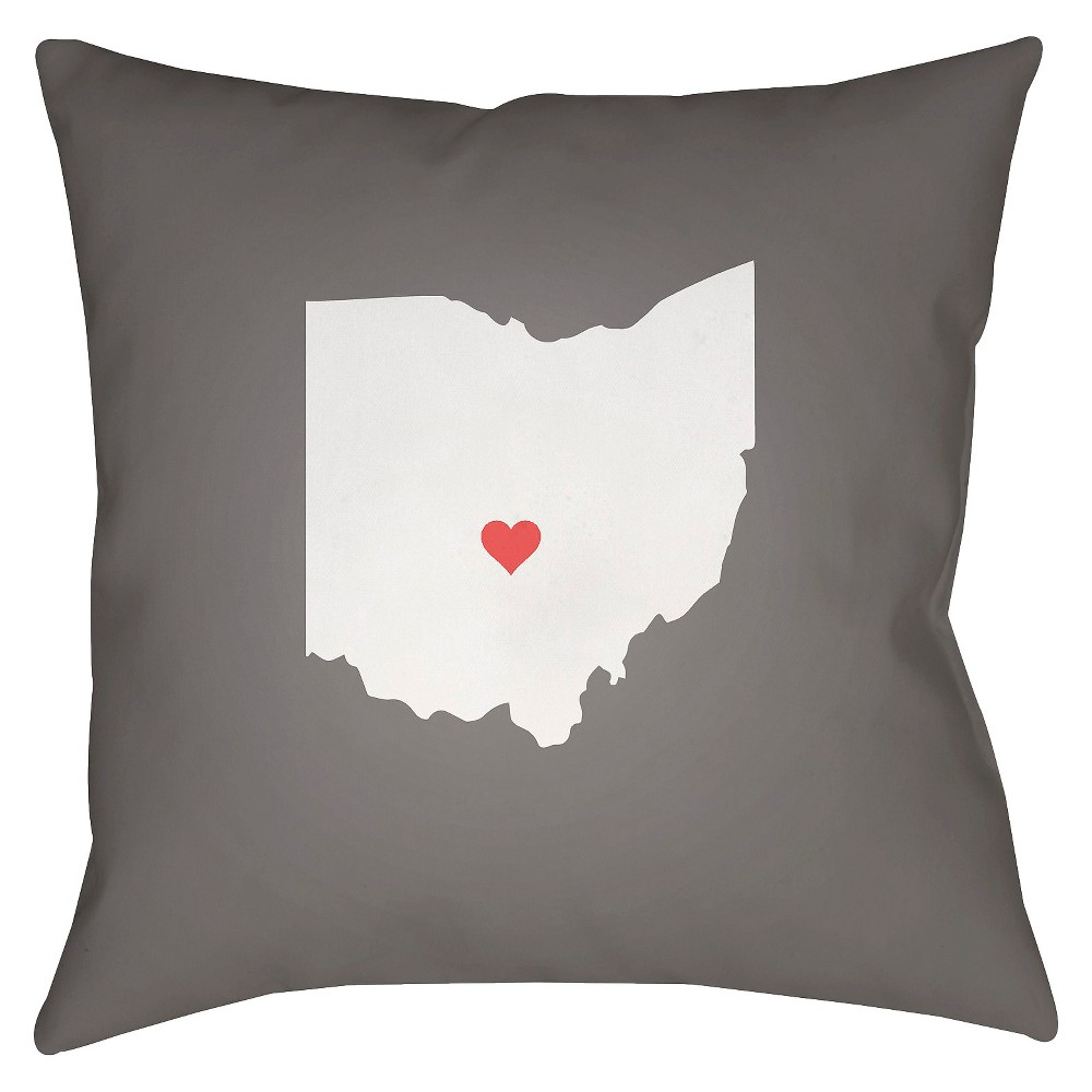 Gray State of the Heart Ohio Throw Pillow 18