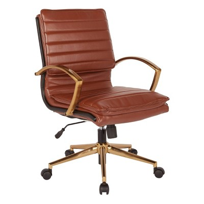 Mid Back Faux Leather Chair with Gold Finish - OSP Home Furnishings