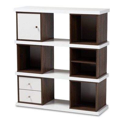 "39.06"" Rune Two-Tone 2 Drawer Bookcase White/Walnut - Baxton Studio"