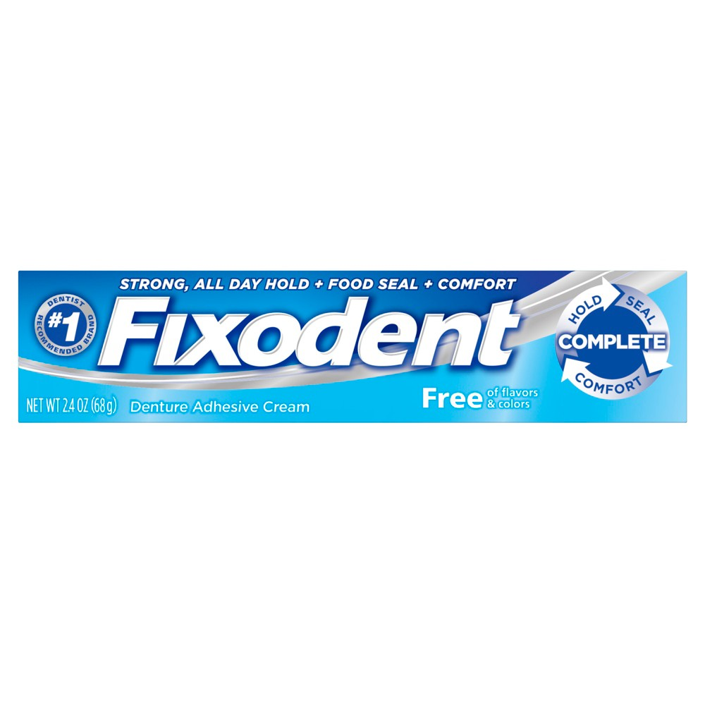 Image of Fixodent Complete Free Denture Adhesive Cream - 2.4oz