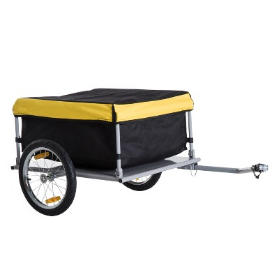 Aosom Elite Two-Wheel Bicycle Large Cargo Wagon Trailer with Oxford Fabric Folding Storage & Removable Cover Yellow
